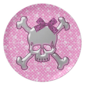 Cute Skull with Ribbon Pink Plate