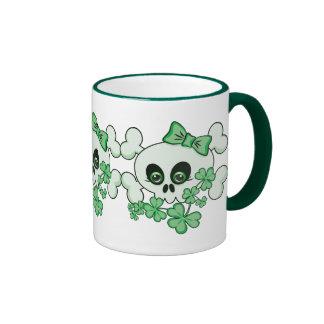 Cute Skull with Shamrocks Coffee Mug