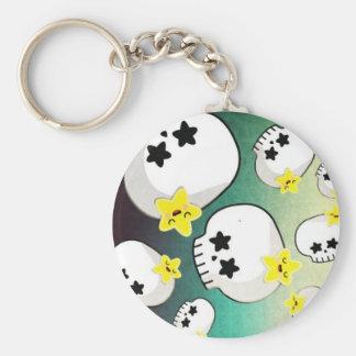 Cute Skulls And Stars Pattern Basic Round Button Key Ring
