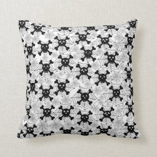 Cute Skulls With Cobwebs Throw Pillow