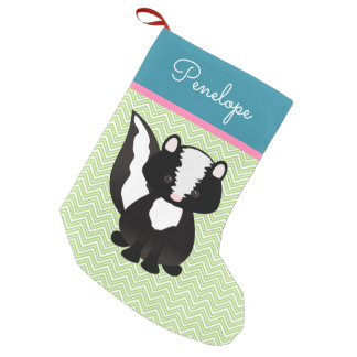 Cute Skunk In Pastels Personalized Small Christmas Stocking