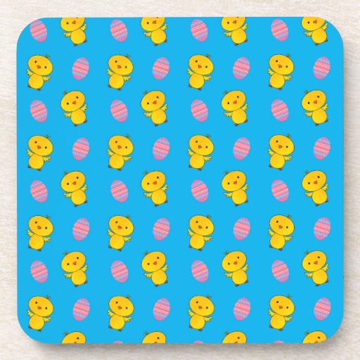 Cute sky blue baby chick easter pattern drink coasters