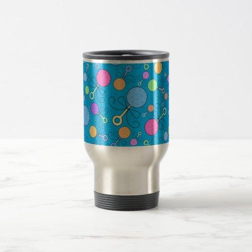 Cute sky blue baby rattle pattern coffee mug