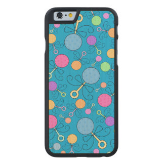 Cute sky blue baby rattle pattern carved® maple iPhone 6 case