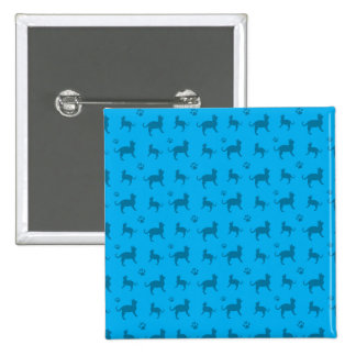 Cute sky blue cats and paws pattern 15 cm square badge