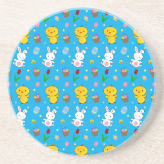 Cute sky blue chick bunny egg basket easter drink coaster