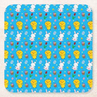 Cute sky blue chick bunny egg basket easter square paper coaster