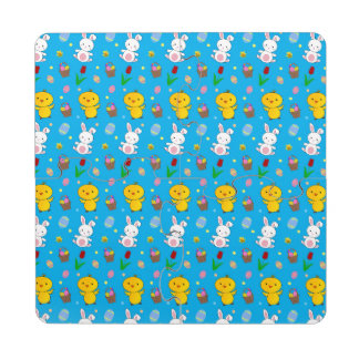 Cute sky blue chick bunny egg basket easter puzzle coaster