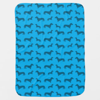 Cute sky blue dachshund pattern baby blanket