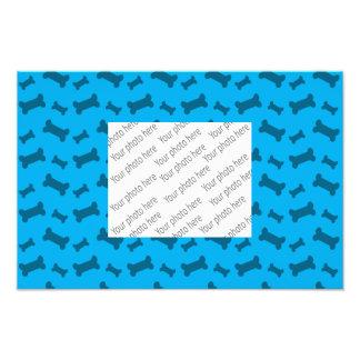 Cute sky blue dog bones pattern photo print