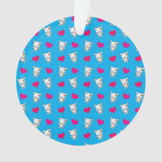 Cute sky blue dog hearts pattern ornament