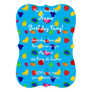 "Cute sky blue fruits pattern 5"" x 7"" invitation card"