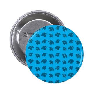 Cute sky blue mushroom pattern 6 cm round badge