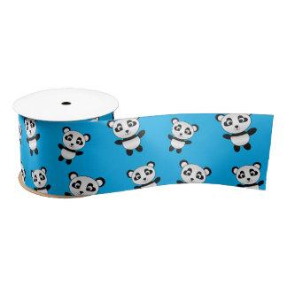 Cute sky blue panda pattern satin ribbon