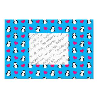 Cute sky blue penguin hearts pattern photograph