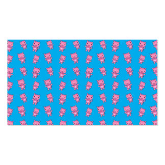 Cute sky blue pig pattern business cards