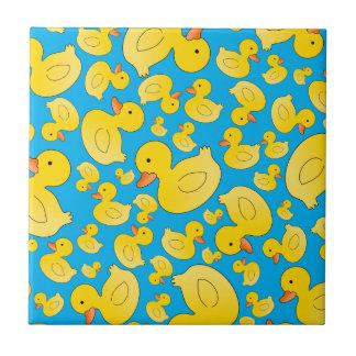 Cute sky blue rubber ducks small square tile