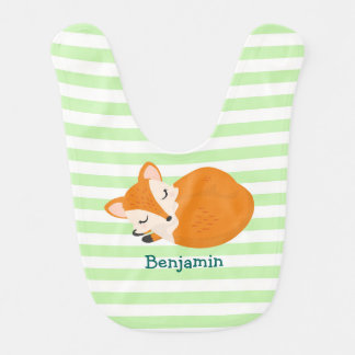 Cute Sleeping Baby Fox to Personalize Bib