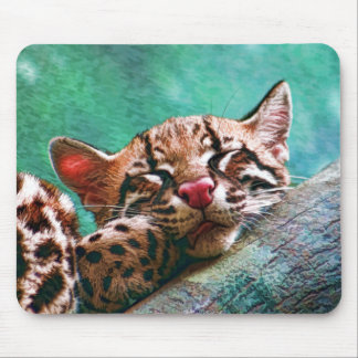 Cute Sleeping Baby Ocelot Kitten Mouse Pad