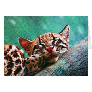 Cute Sleeping Baby Ocelot Kitten Painting Card