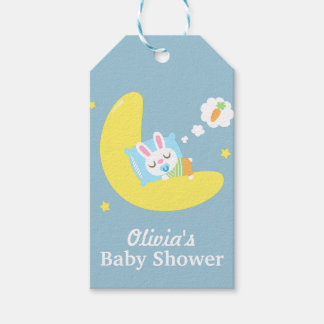 Cute Sleeping Bunny on Moon Baby Shower Gift Tags
