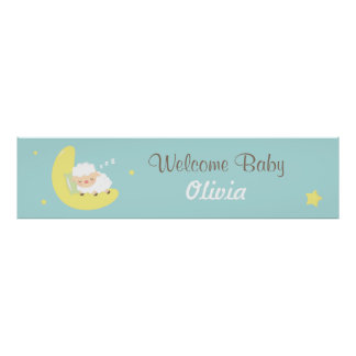 Cute Sleeping Lamb Baby Shower Party Banner Poster
