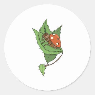 cute sleeping little ladybug round sticker