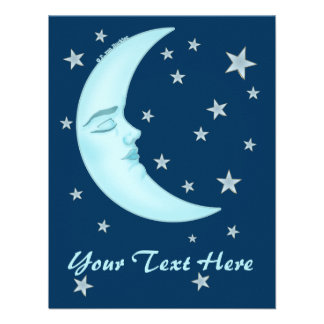 Cute Sleeping Moon Invitations