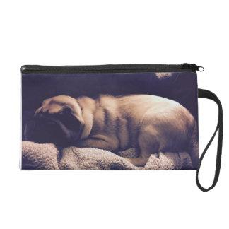 Cute Sleeping Pug in a Blanket Wristlet