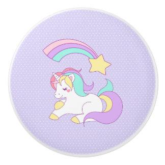Cute Sleeping Unicorn with Colorful Shooting Star Ceramic Knob