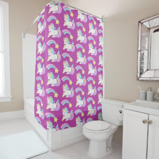 Cute Sleeping Unicorn with Colorful Shooting Star Shower Curtain