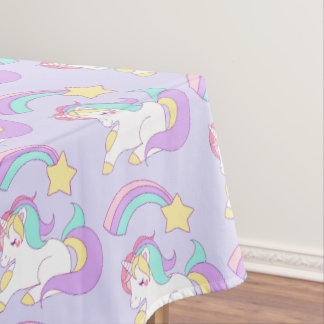 Cute Sleeping Unicorn with Colorful Shooting Star Tablecloth