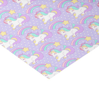 Cute Sleeping Unicorn with Colorful Shooting Star Tissue Paper