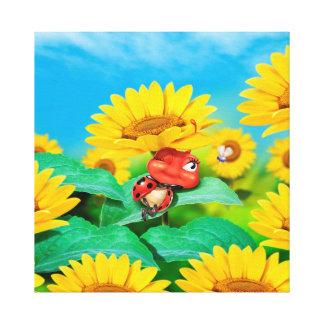 Cute sleepy Ladybug canvas print with sunflowers