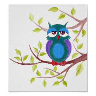 Cute sleepy owl on a tree cartoon Poster