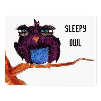 Cute Sleepy Owl Postcard