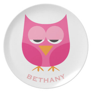 Cute Sleepy Pink Owl Personalized Plate