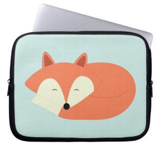 Cute Sleepy Red Fox Laptop Sleeve