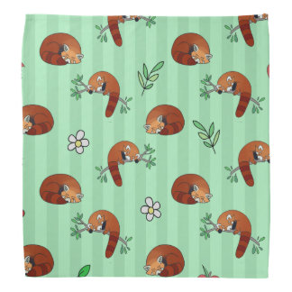 Cute Sleepy Red Panda Pattern Bandana