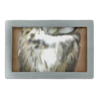 Cute Sleepy Striped Owl Rectangular Belt Buckle