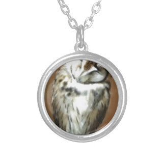 Cute Sleepy Striped Owl Silver Plated Necklace