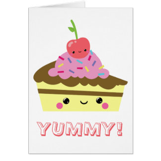 Cute Slice of Kawaii Ice Cream Cake Card