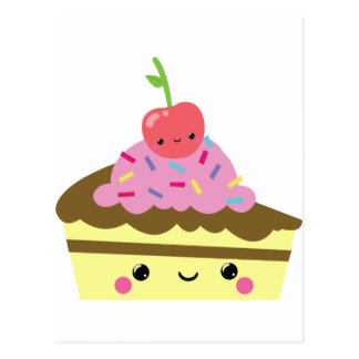 Cute Slice of Kawaii Ice Cream Cake Postcard