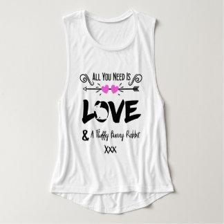 Cute Slogan Love & Fluffy Bunny Rabbit Theme Tank Top