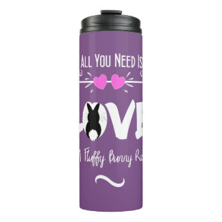 Cute Slogan Love & Fluffy Bunny Rabbit Theme Thermal Tumbler