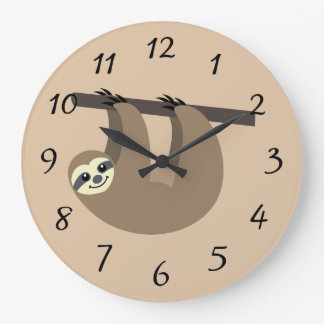 Cute Sloth Cartoon Large Clock