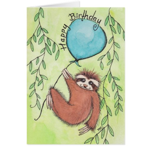 Cute Sloth Happy Birthday Cards