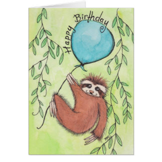 Cute Sloth Happy Birthday Greeting Card