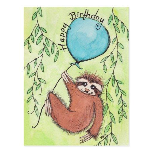 Cute Sloth Happy Birthday Post Cards
