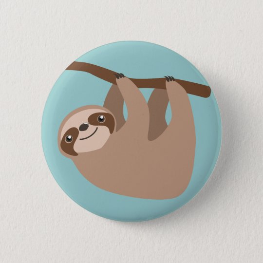 Cute Sloth on a Branch 6 Cm Round